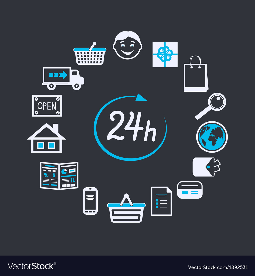 24 Internet Internet Website Store Open 24 Hours Vector Image On Vectorstock