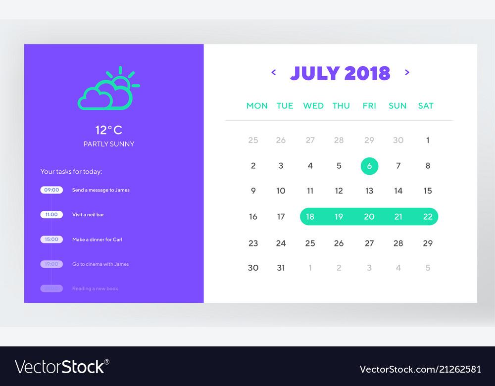 Calendar day planner and calendar app ui ux design