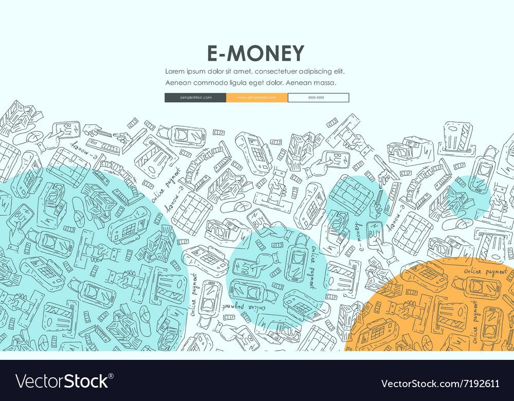 E-money Doodle Website Template Design Royalty Free Vector
