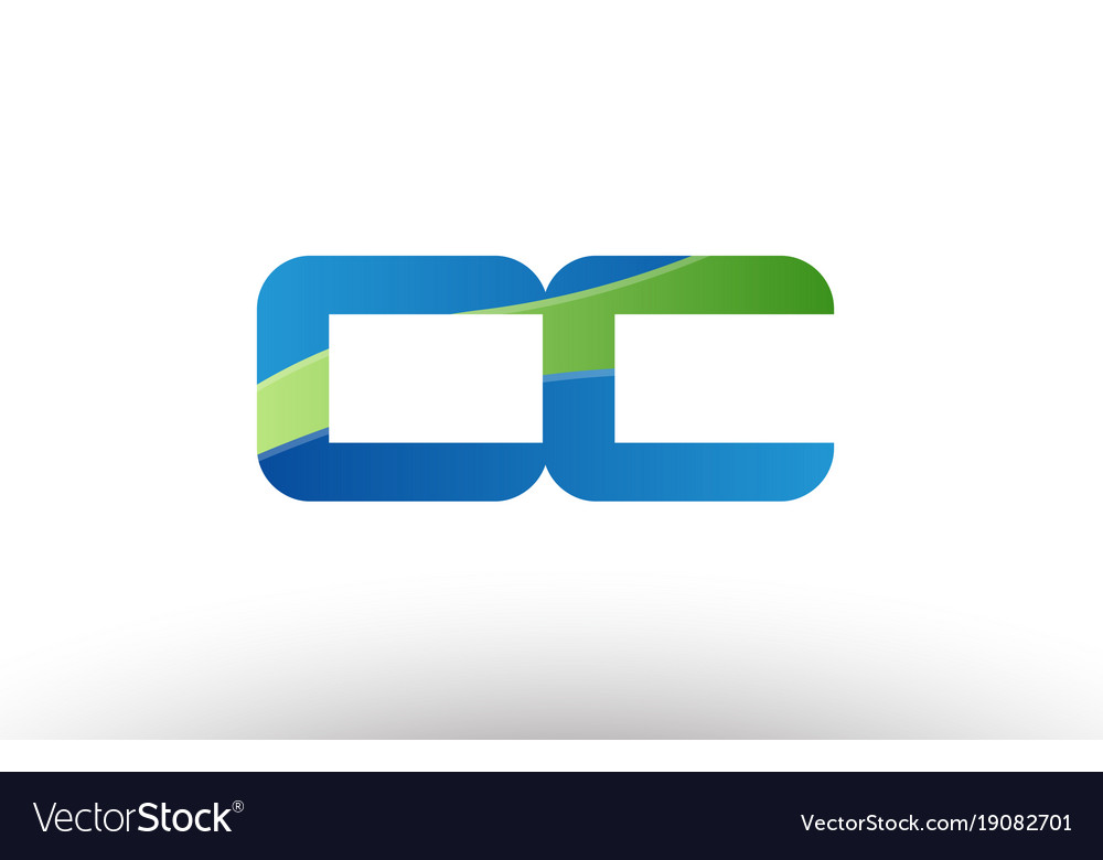 Blue green cc c c alphabet letter logo Royalty Free Vector