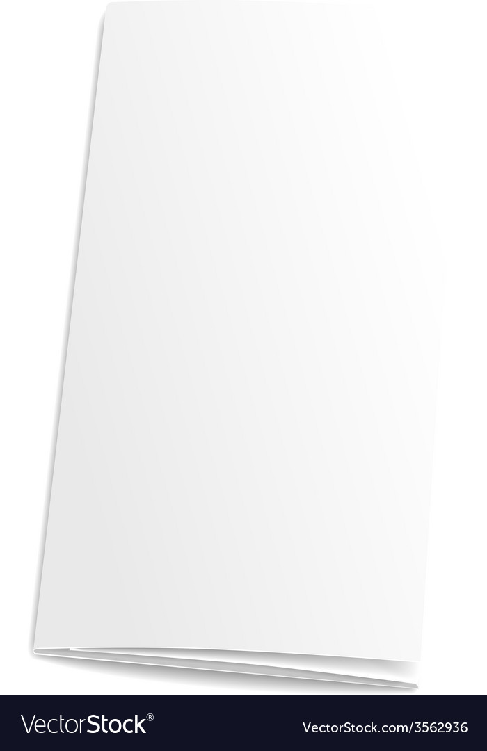 Blank trifold paper brochure on white background Vector Image