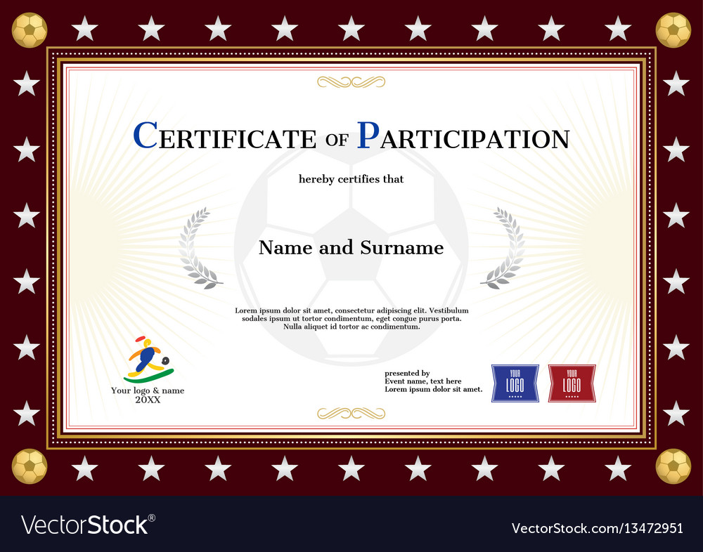 Certificate of participation template in sport Vector Image - certificate of participation template