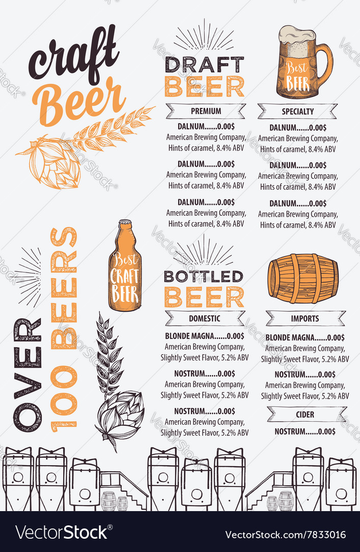 Beer restaurant cafe menu template design Vector Image - Cafe Menu Template