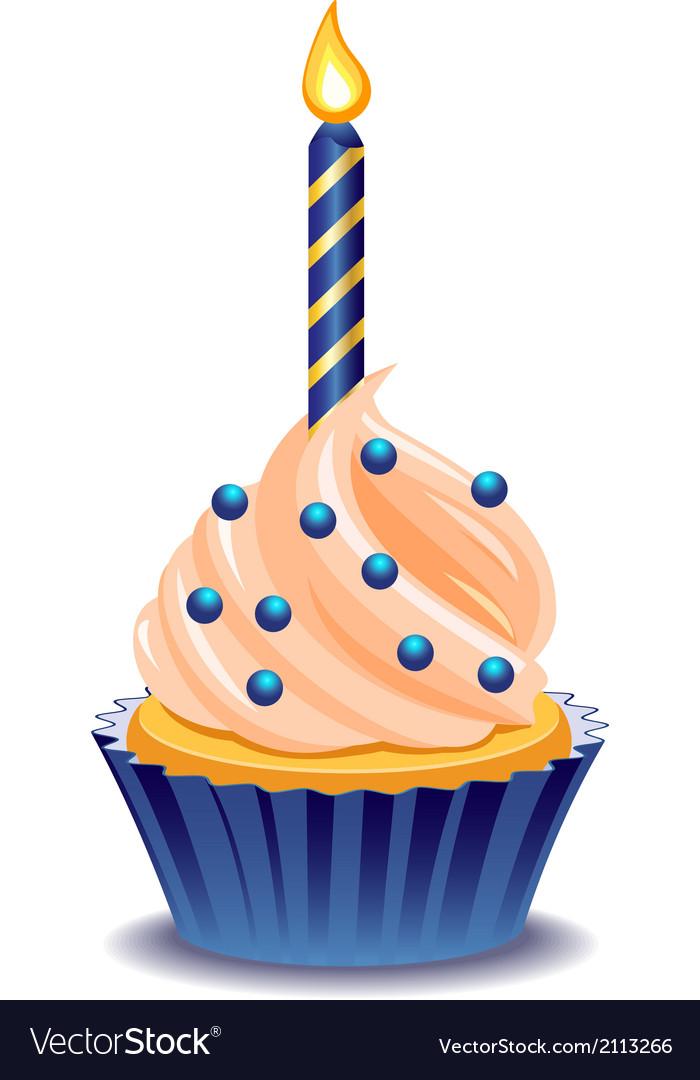 Birthday cupcake Royalty Free Vector Image - VectorStock
