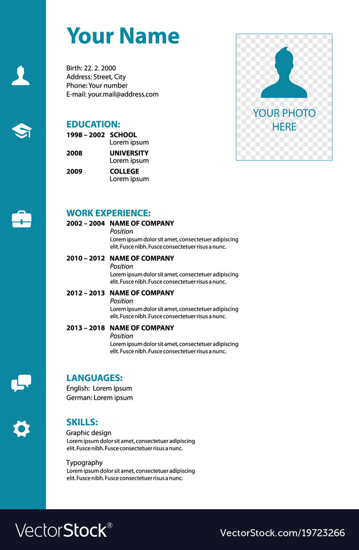 Cv resume template in blue color Royalty Free Vector Image