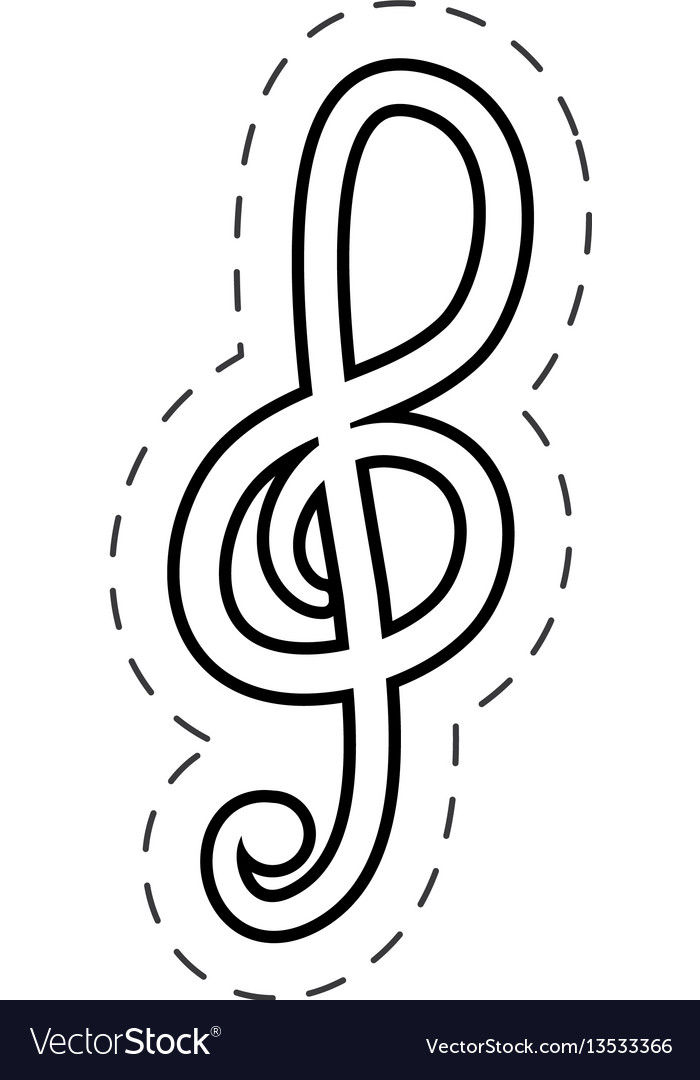 Treble clef music cut line Royalty Free Vector Image - clef music