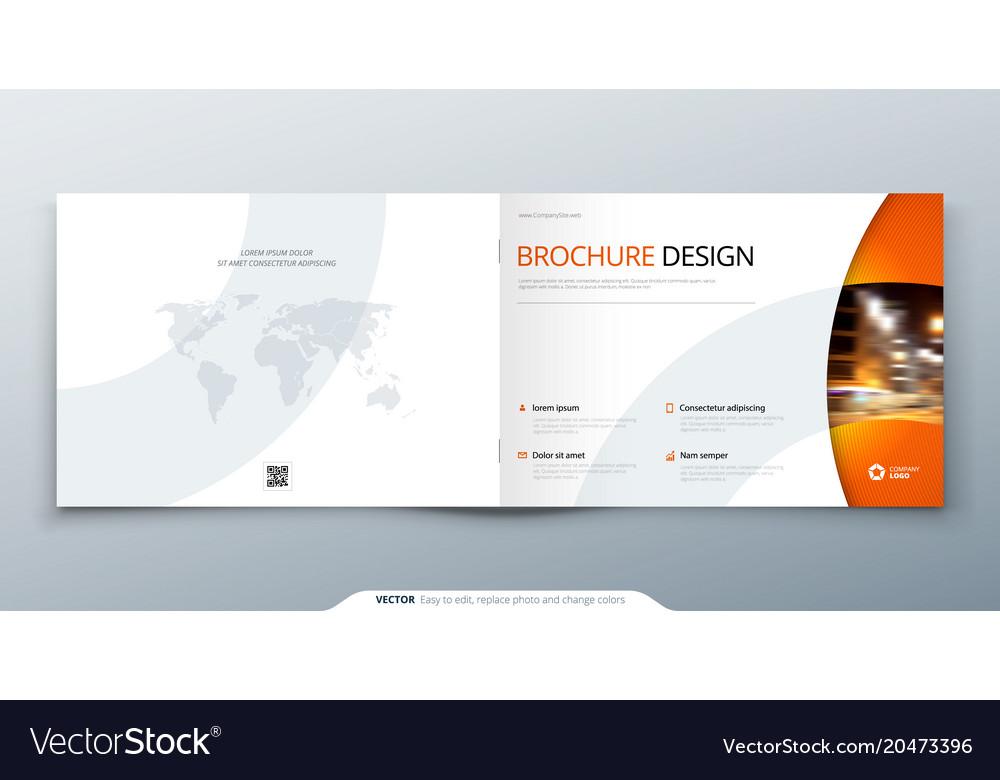 Landscape brochure design orange corporate Vector Image
