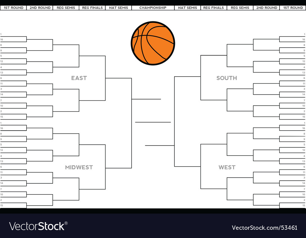 College basketball tournament bracket Royalty Free Vector