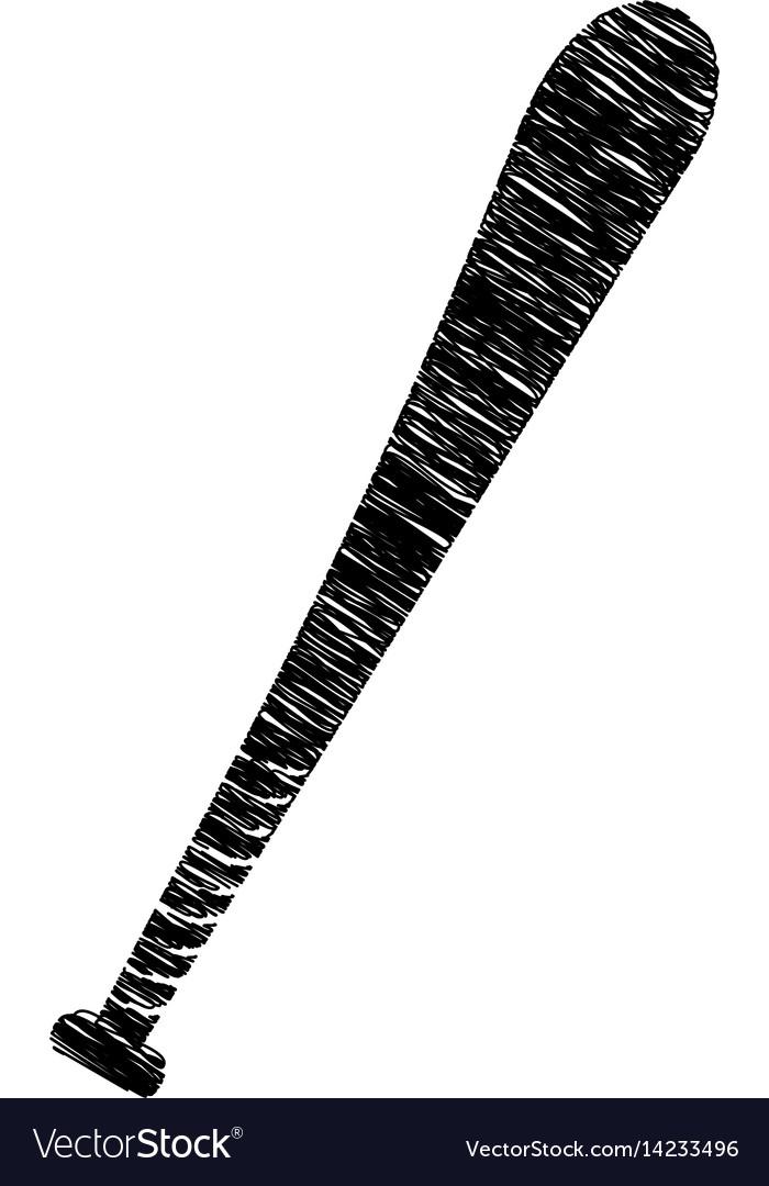 Silhouette drawing baseball bat element sport Vector Image