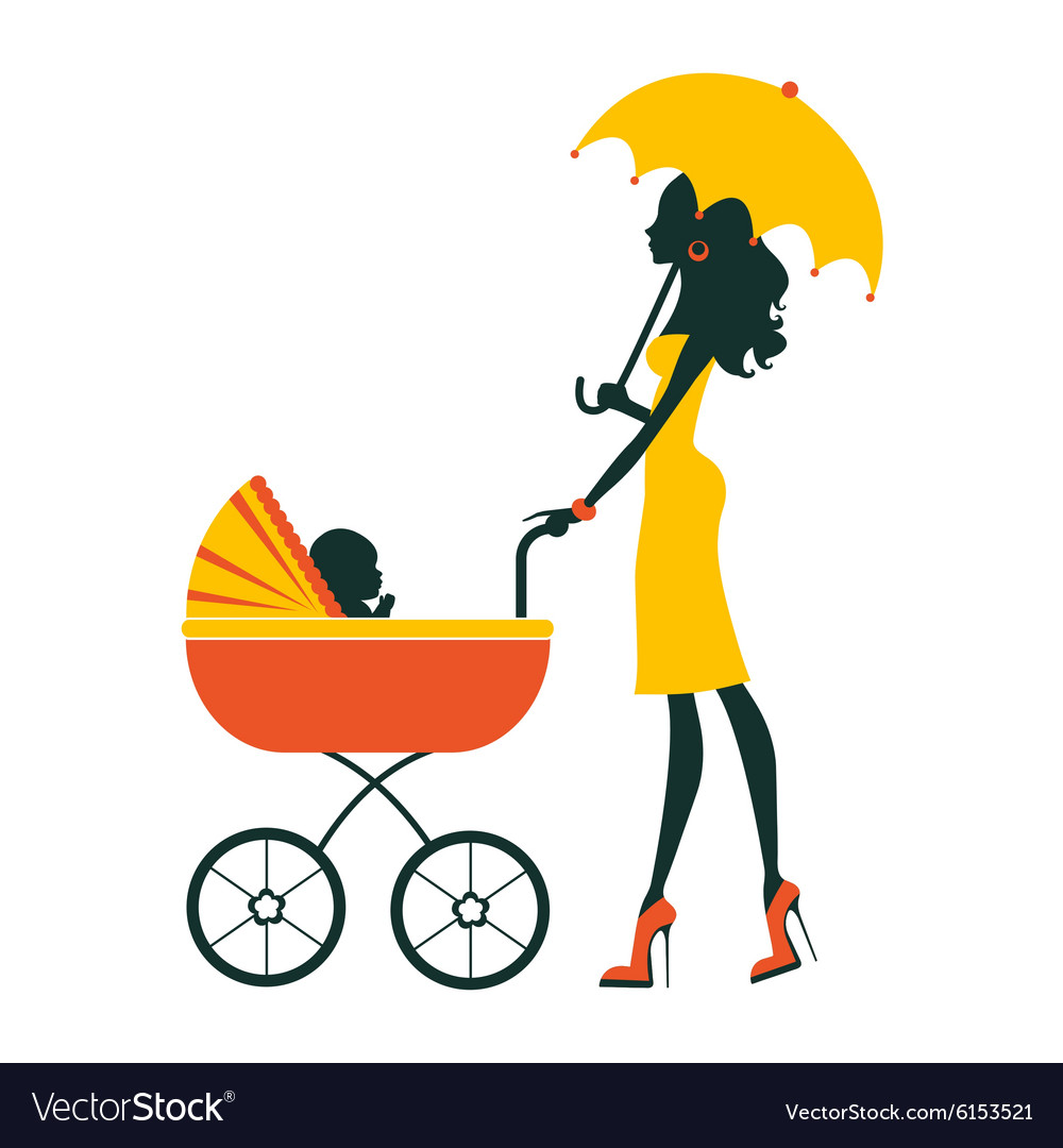 Baby Pram Umbrella Fashion Mom With Baby In Pram Under Umbrella