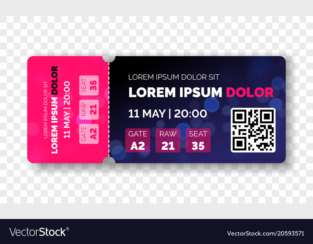 Ticket template modern trendy design Royalty Free Vector
