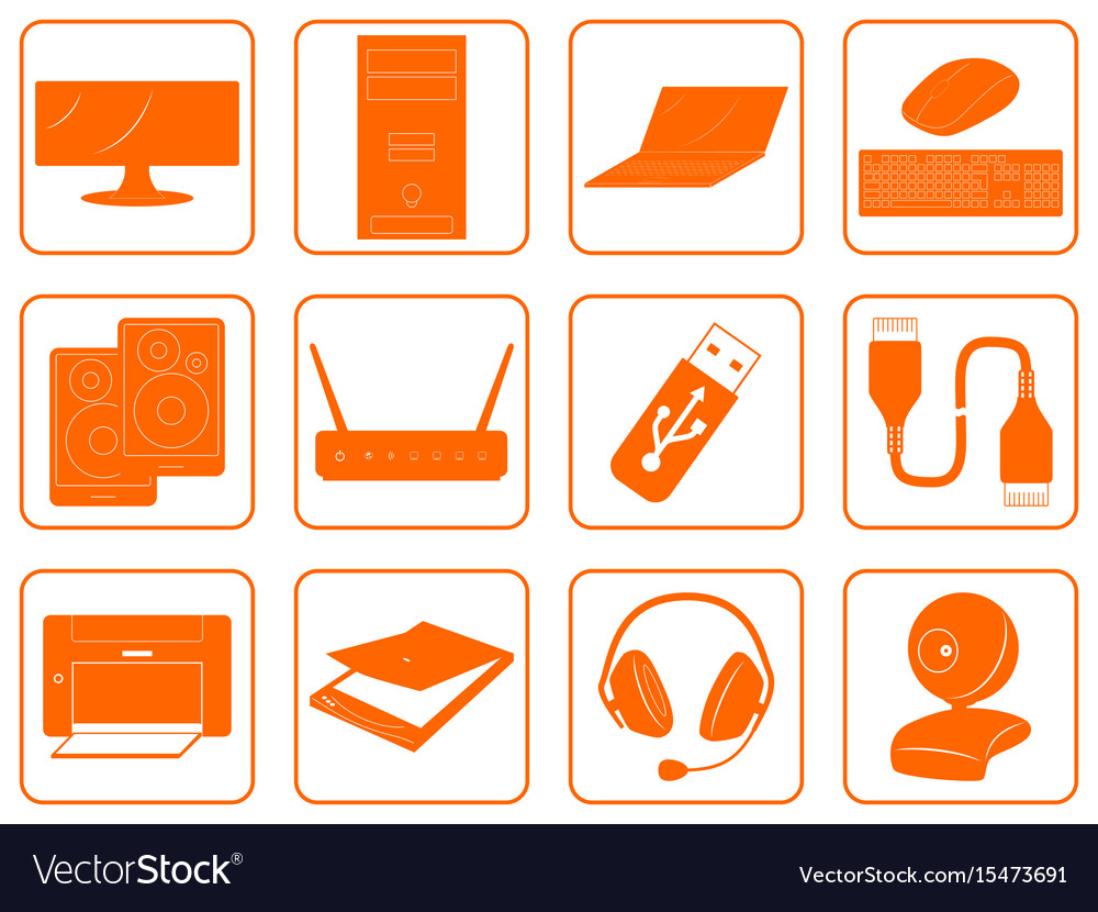 Computer Online Store Red Goods Icons Of Computer Online Store