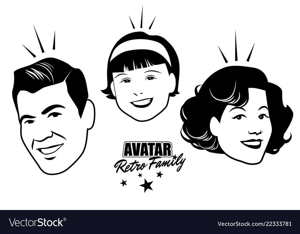 Avatar retro family cartoon faces retro style Vector Image