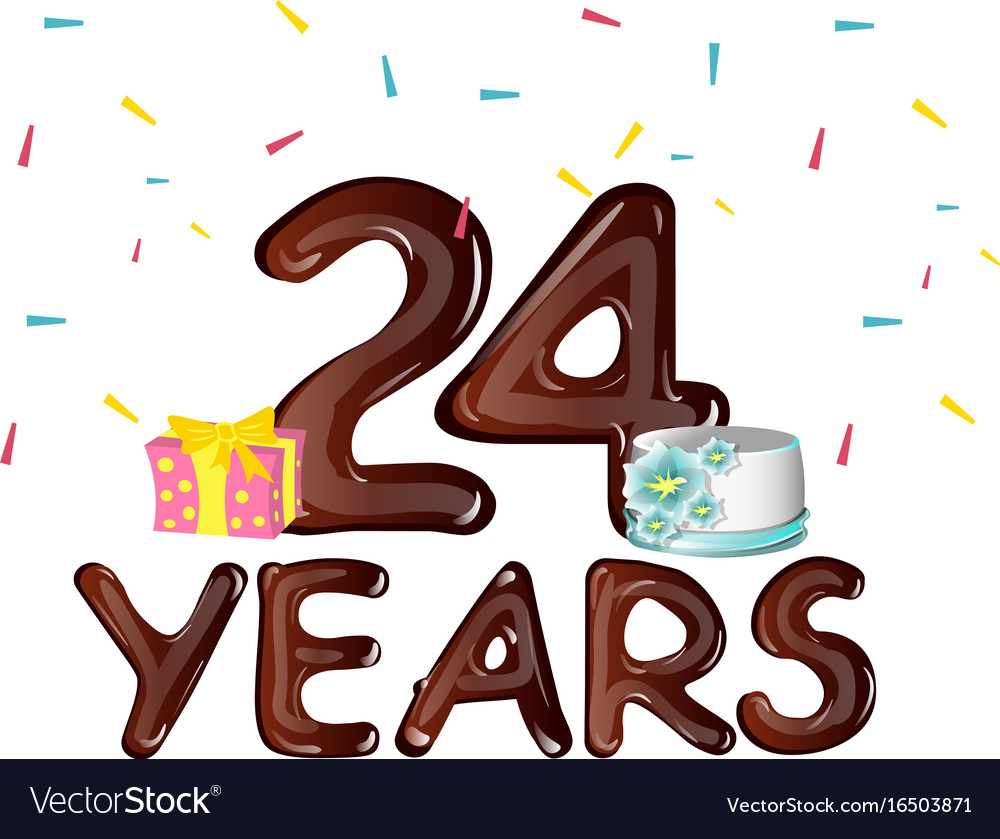 Happy Birthday Number 24 Greeting Card Royalty Free Vector
