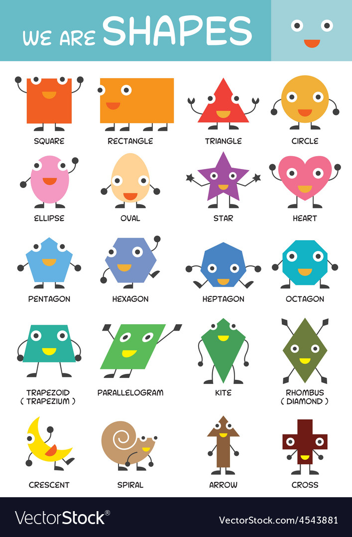 Kids Basic Shapes Chart Royalty Free Vector Image