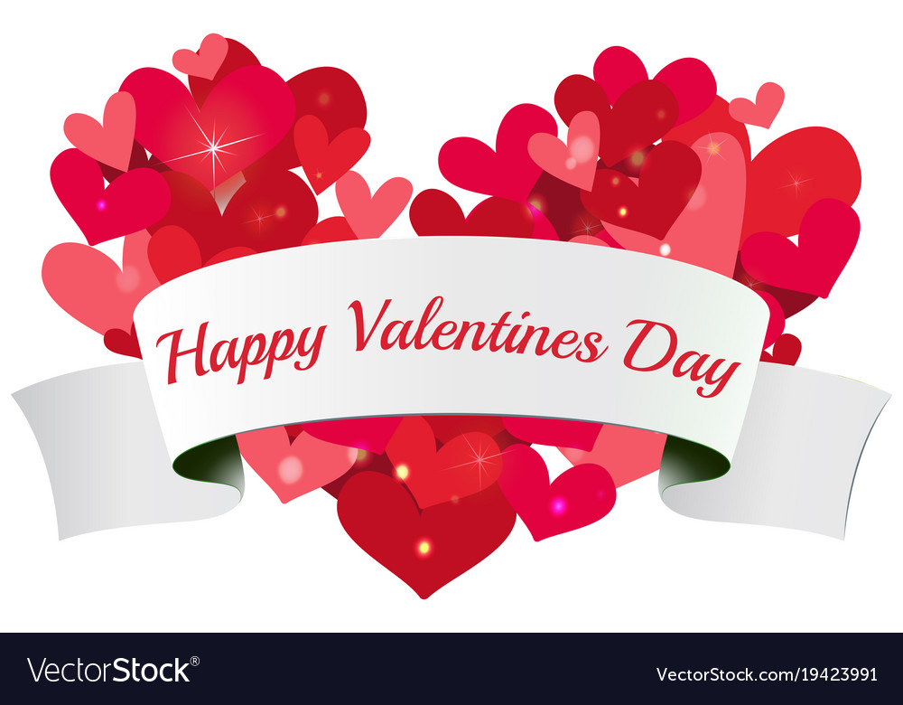Velentine card template with shiny hearts Vector Image