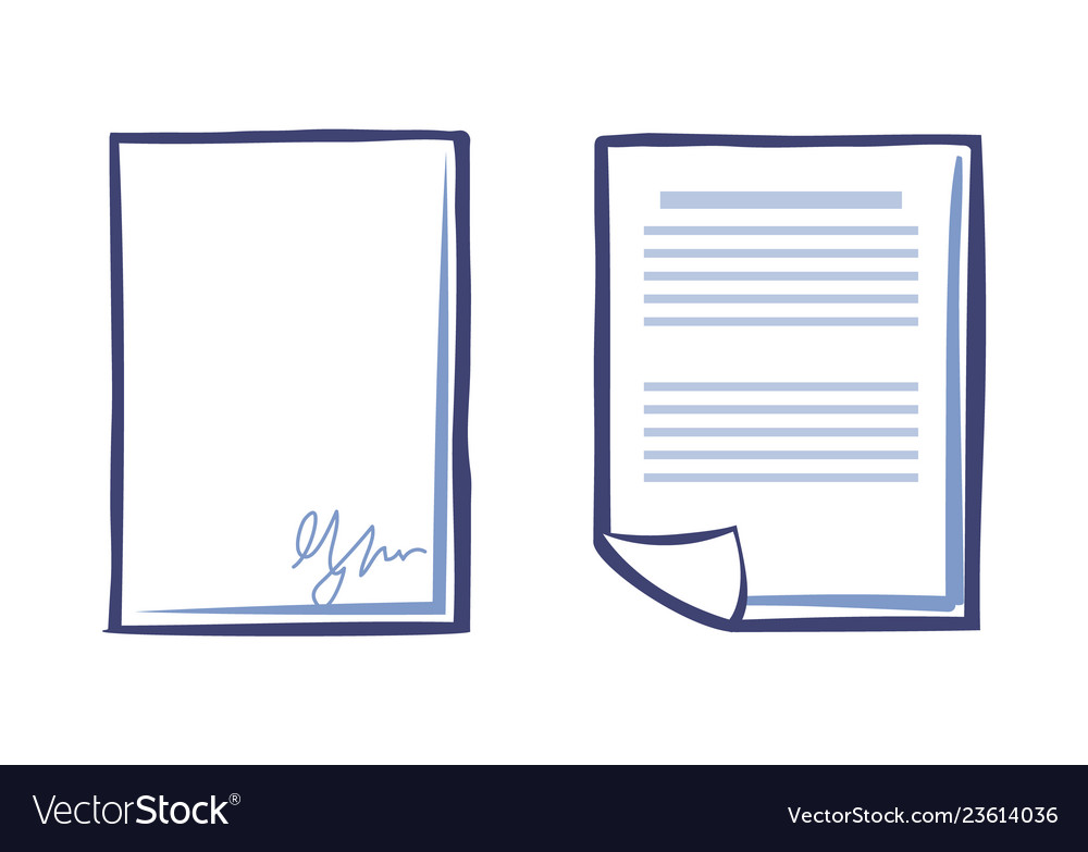 Blank sheet of paper with signature and document Vector Image