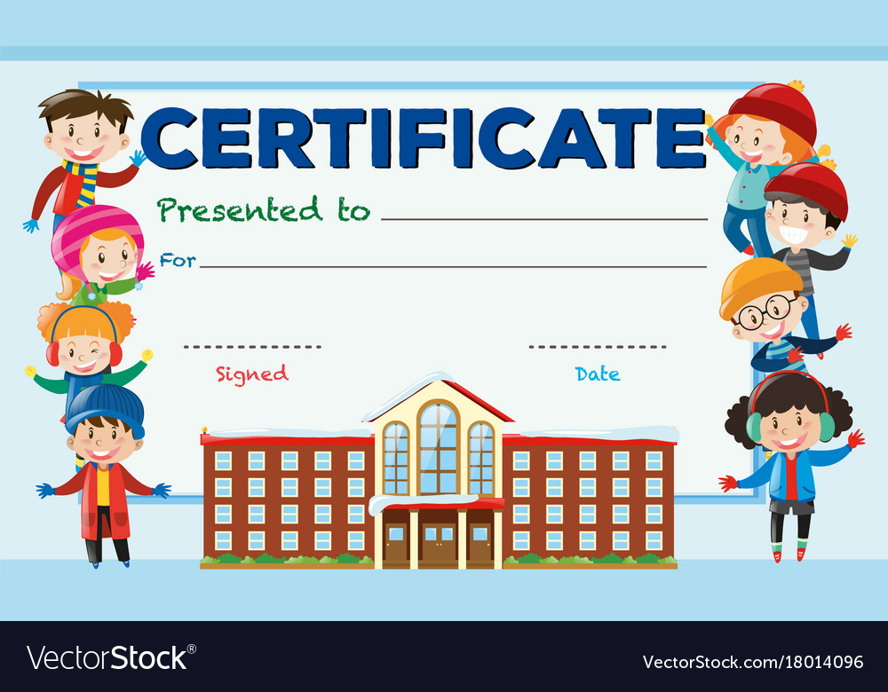 Certificate template with kids and school building - certificate template for kids