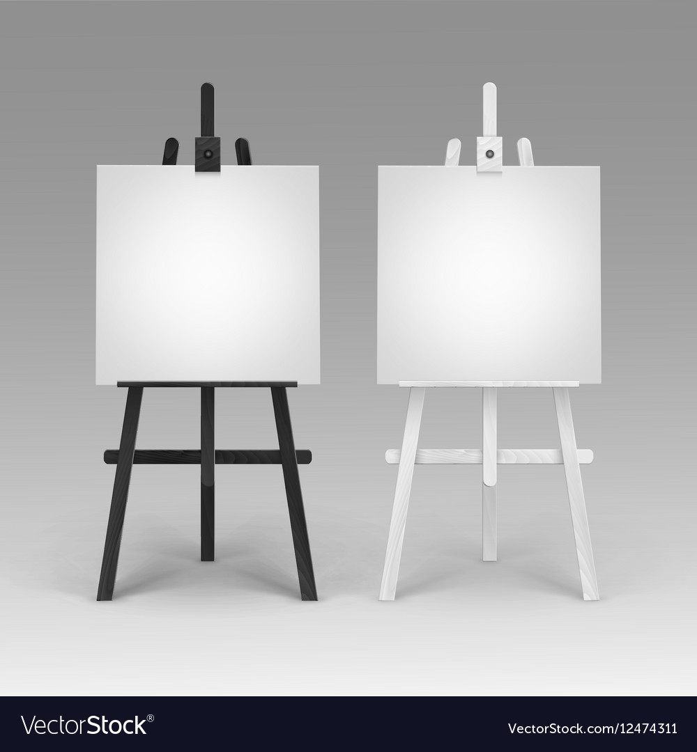 Easels Set Of Wooden Black White Easels With Canvases