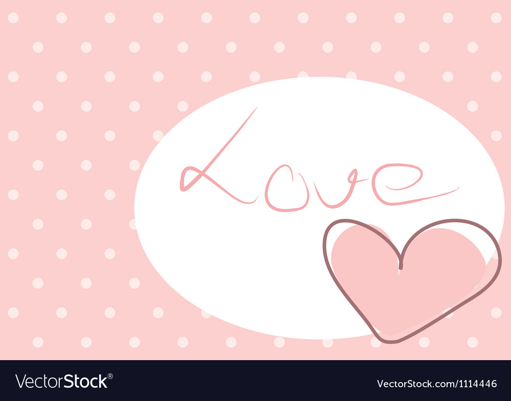 Sweet love - pink heart with polka dots background
