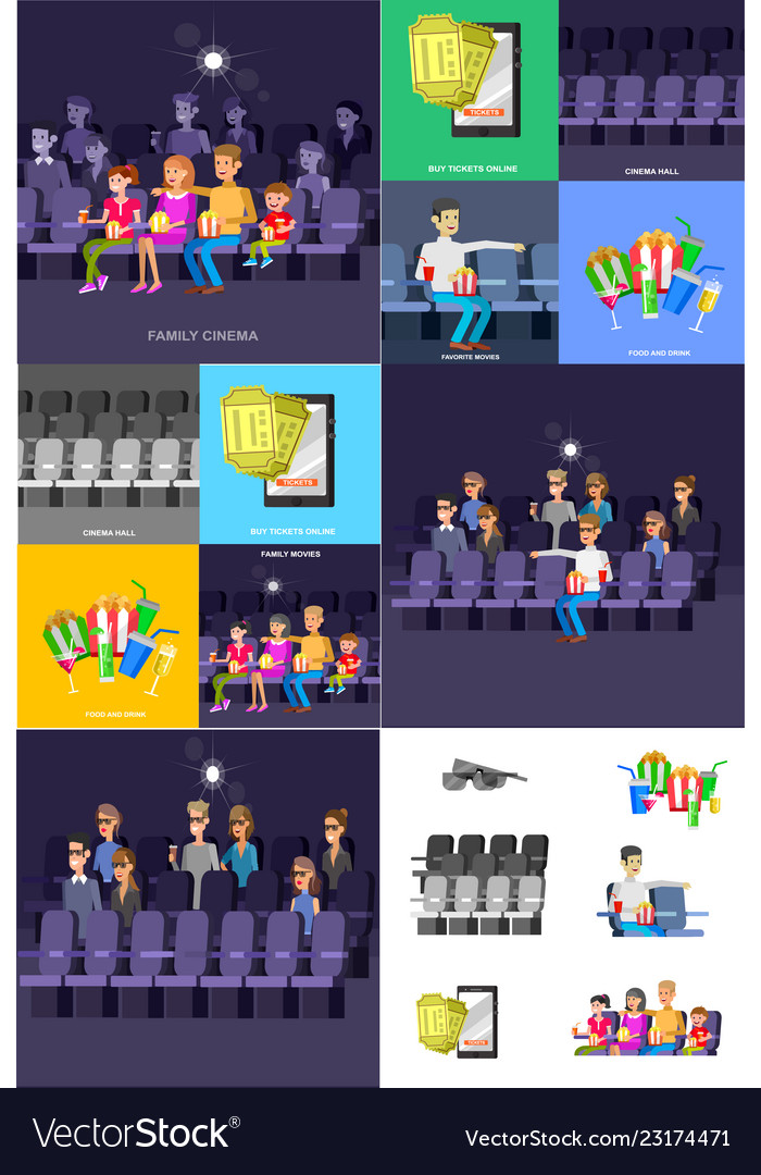 Cinema movie poster template cute character Vector Image