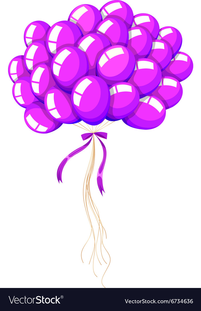 Bunch of purple balloons floating Royalty Free Vector Image
