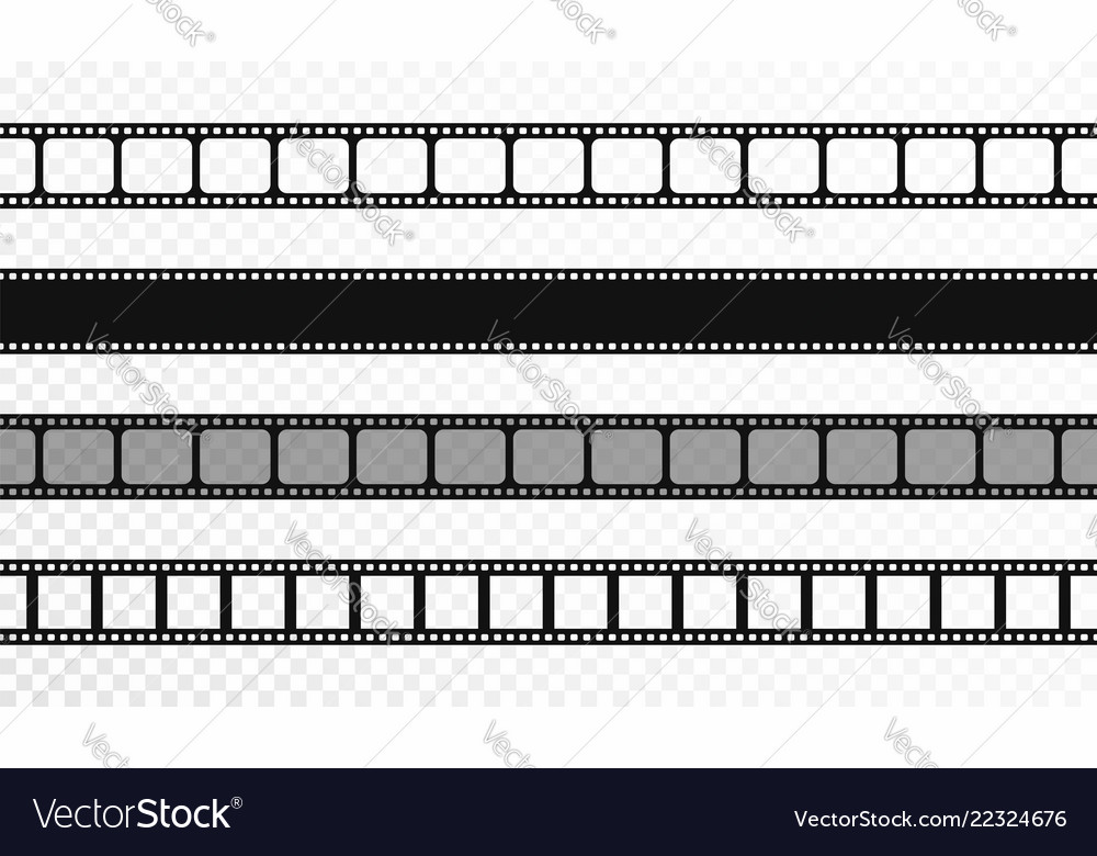 Seamless film strips on transparent background Vector Image