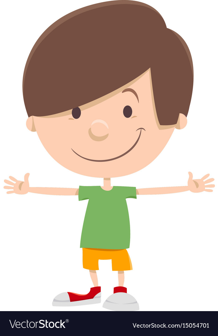 Smiling kid boy cartoon character Royalty Free Vector Image