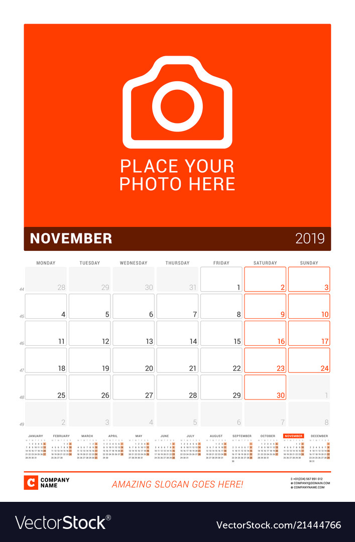 November 2019 wall calendar for 2019 year design Vector Image