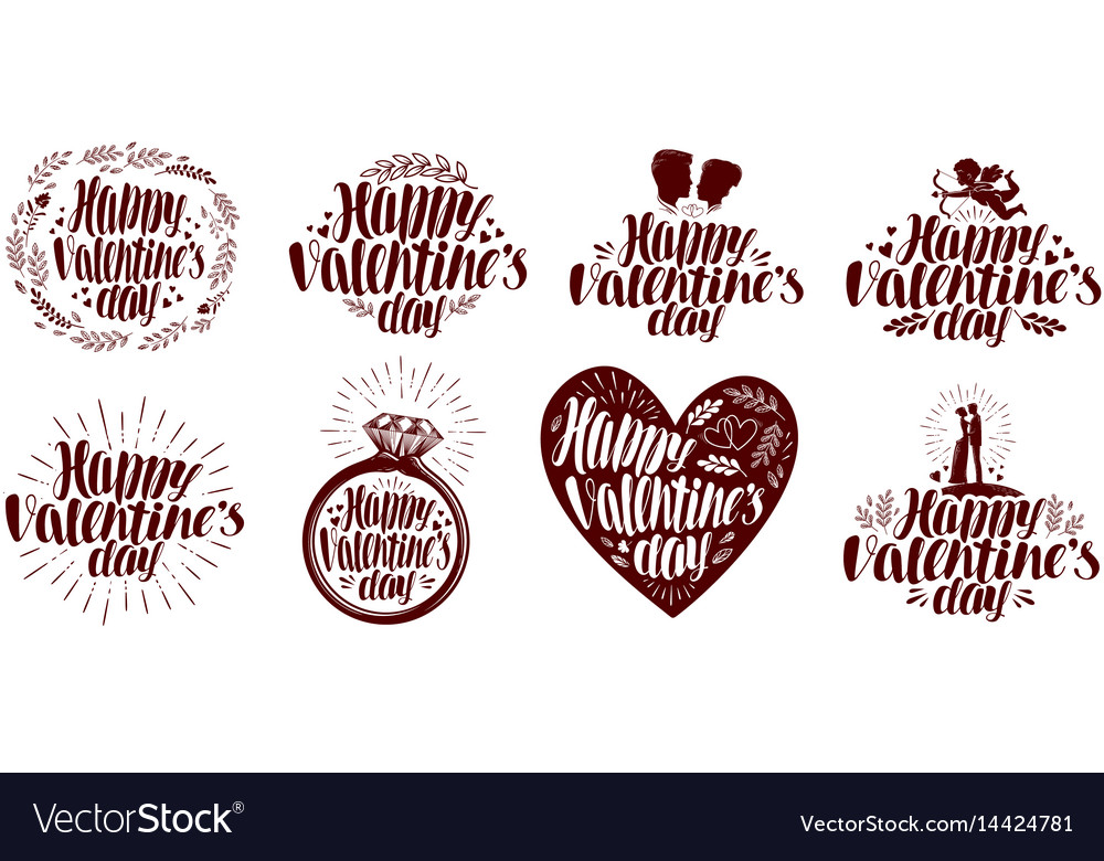 Happy valentines day label set holiday icon or Vector Image