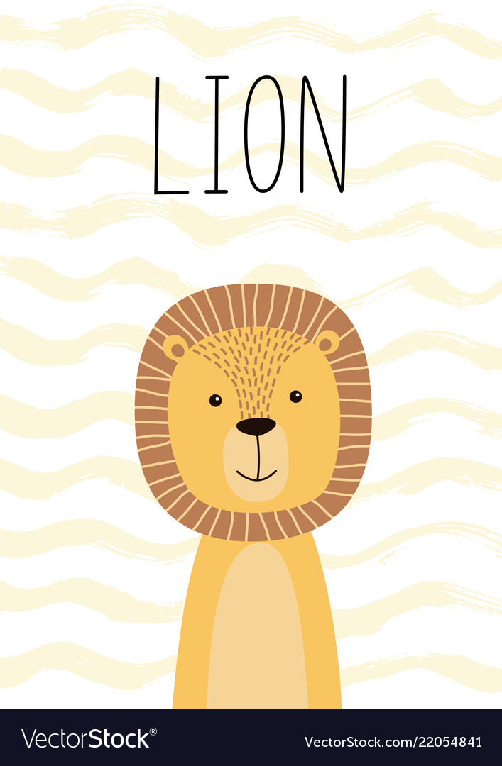Cute lion poster card for kids Royalty Free Vector Image