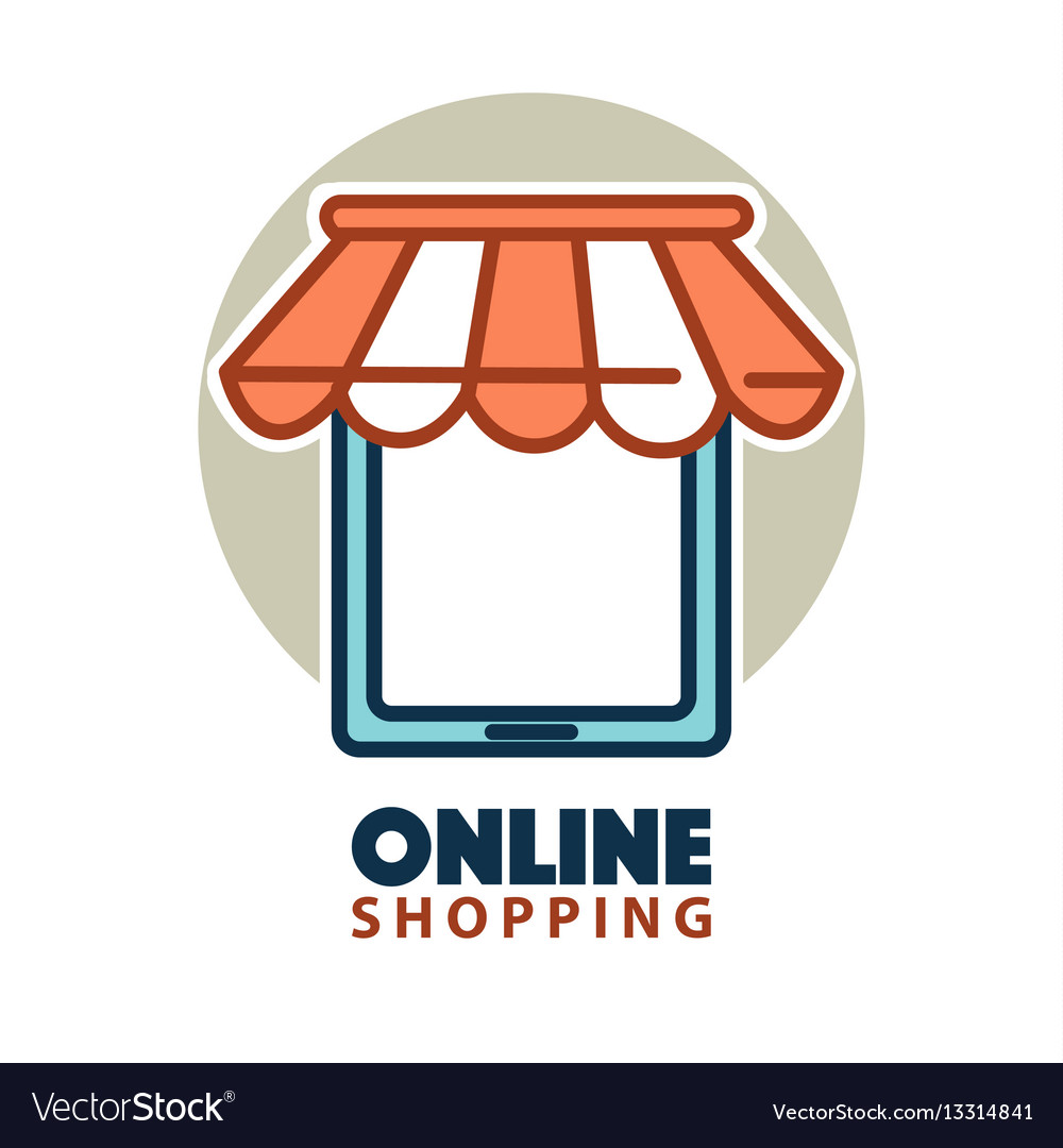 Design Online Shop Online Shopping Logo Design With A Tablet Under