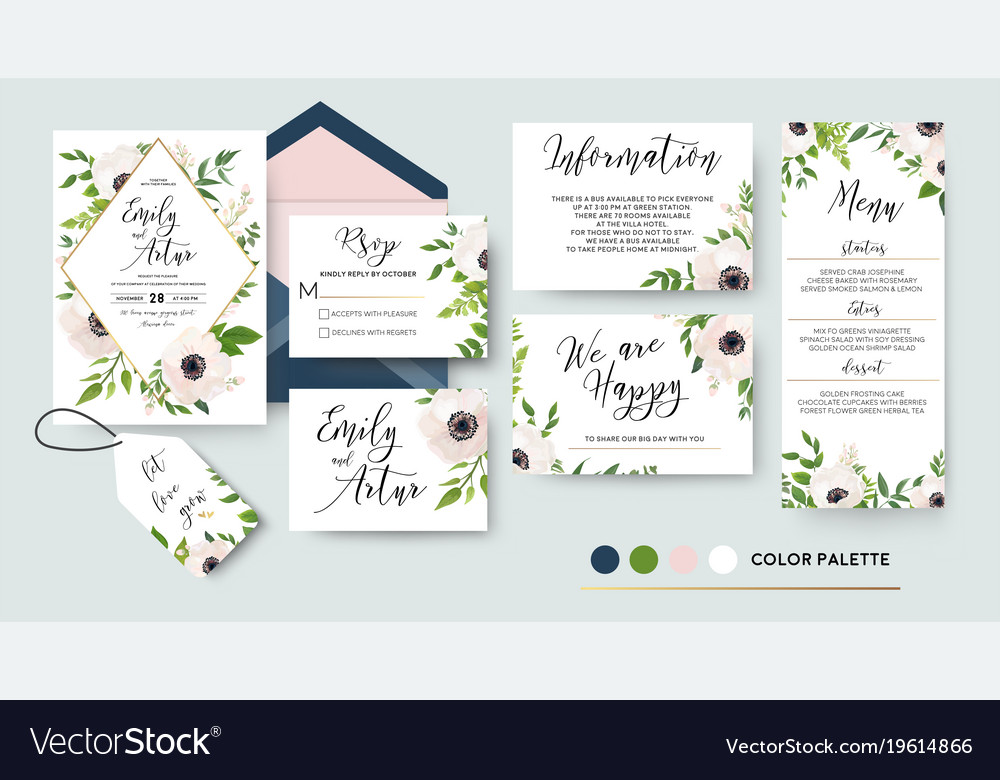Wedding invite menu rsvp thank you card design Vector Image
