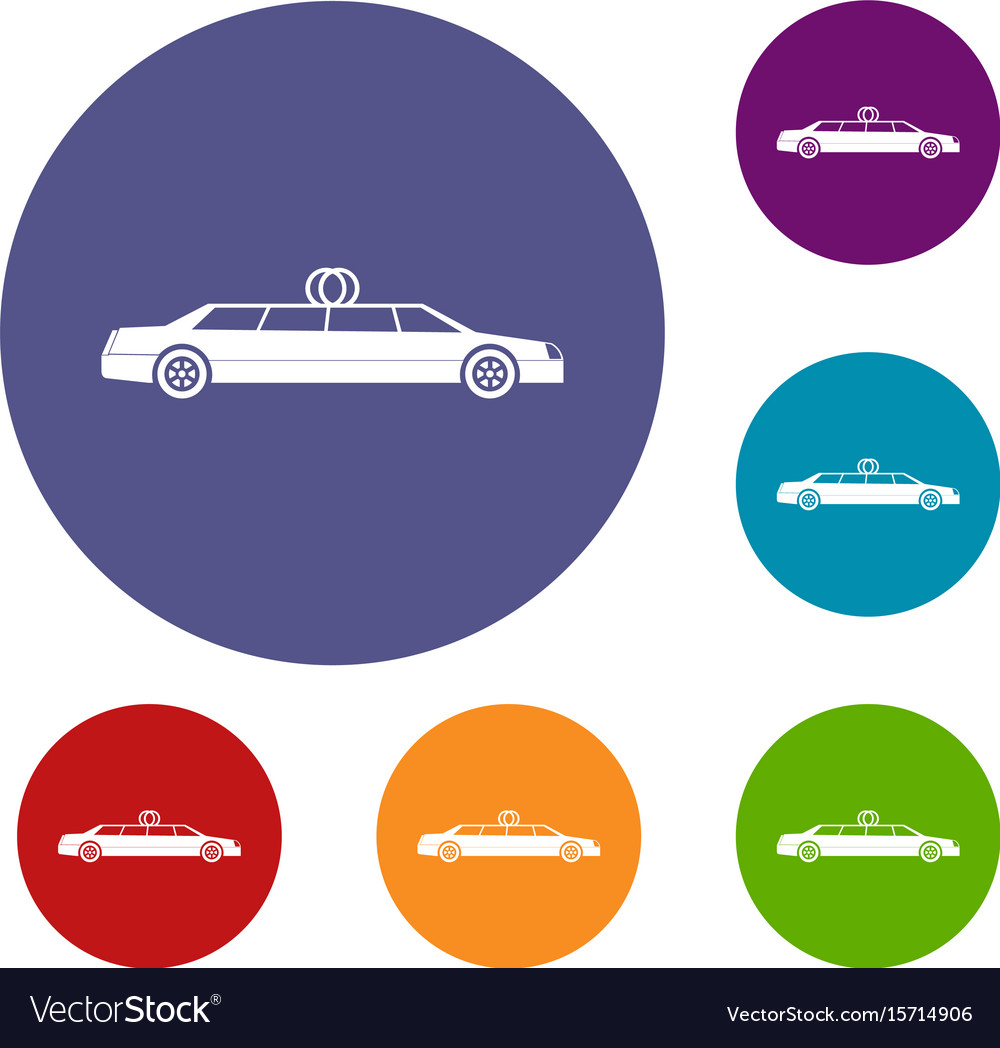 Car Decoration Weding Wedding Car Decoration Icons Set Vector Image On Vectorstock