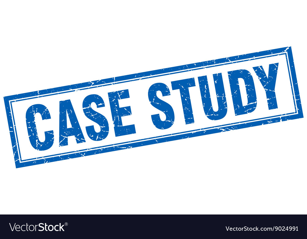 Case study blue square grunge stamp on white Vector Image