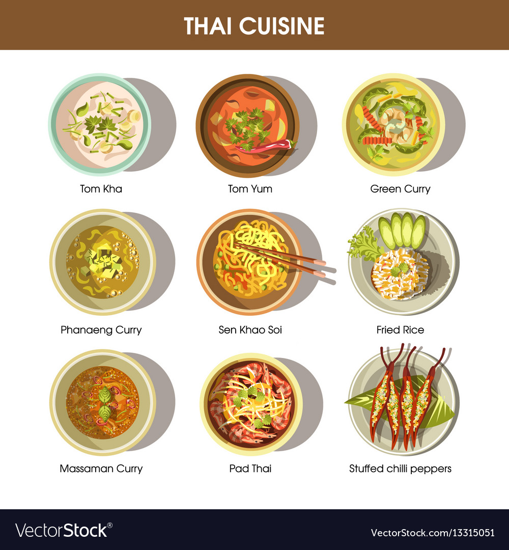 Poster Cuisine Thai Cuisine Poster With Traditional Dishes On