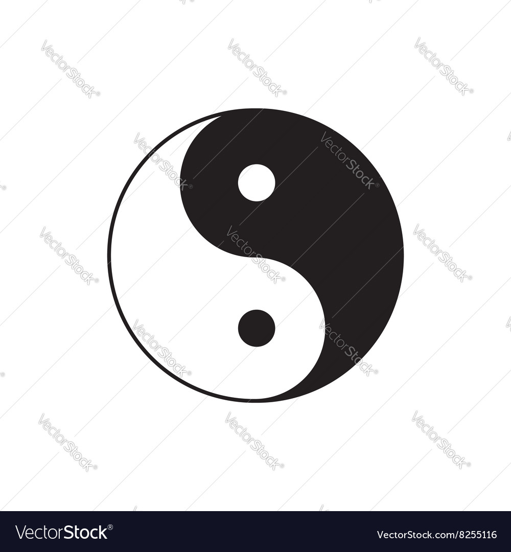 Fenshui Yin Yang Sign Icon Feng Shui Symbol White And