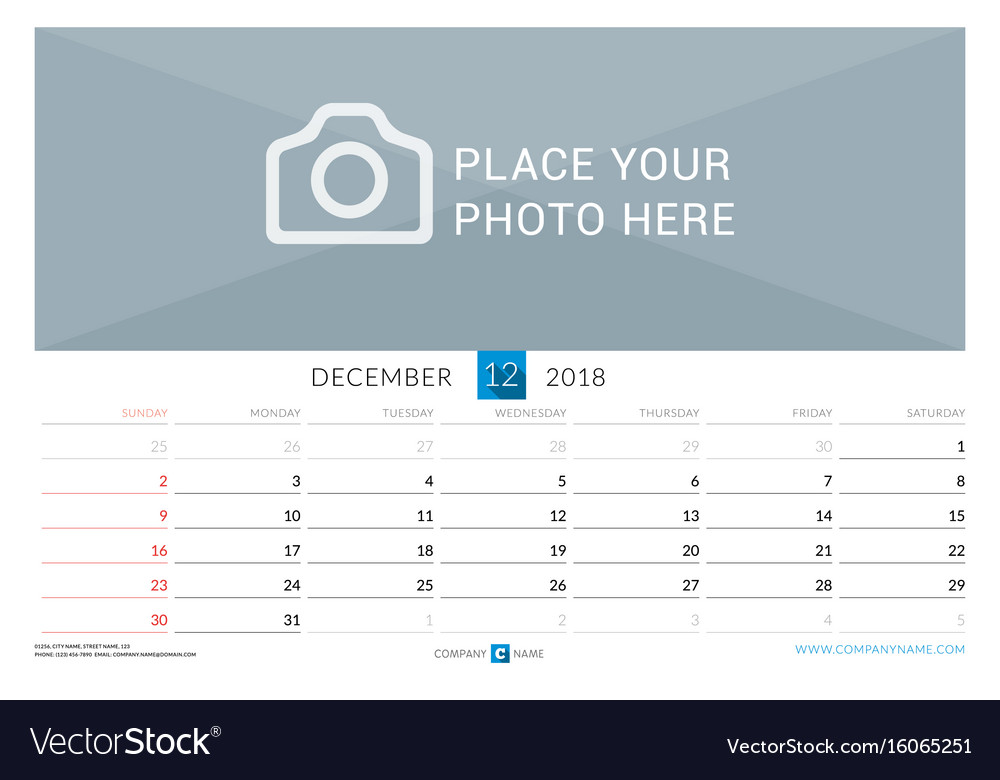 December 2018 wall monthly calendar for 2018 year Vector Image - december monthly calender