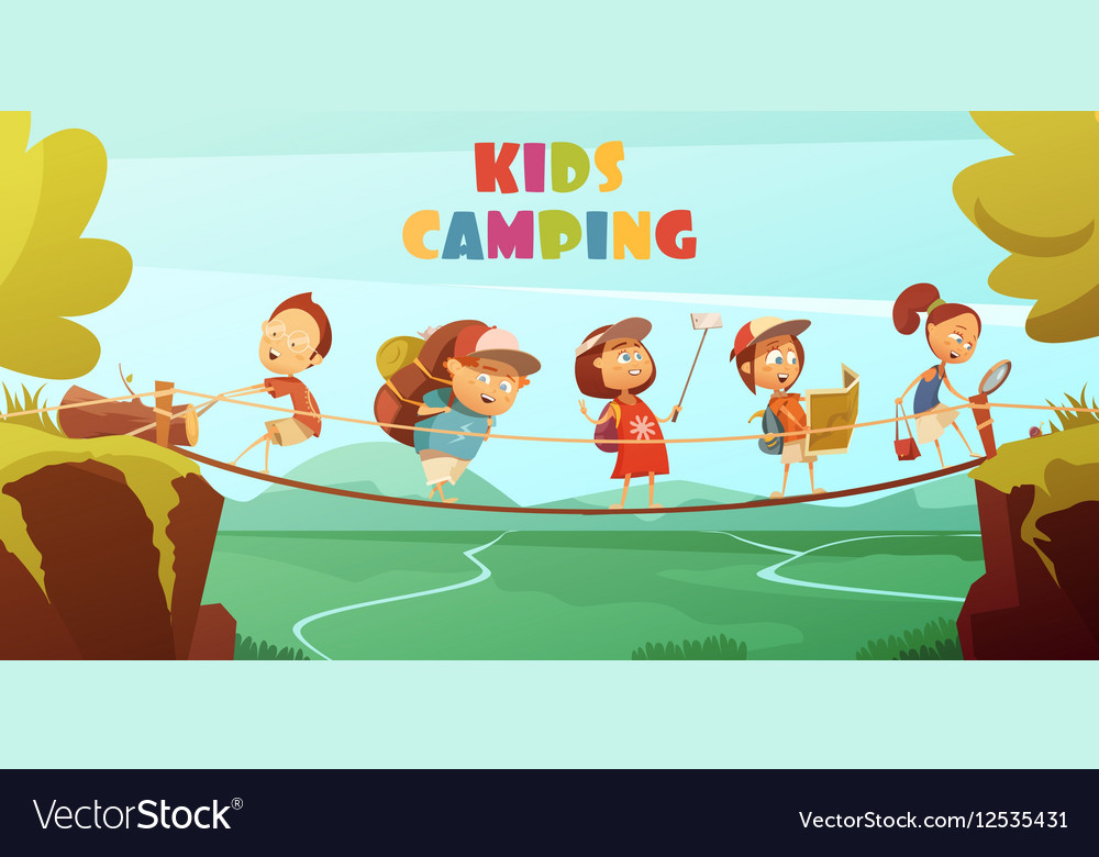Camping Kids Background vector image on VectorStock