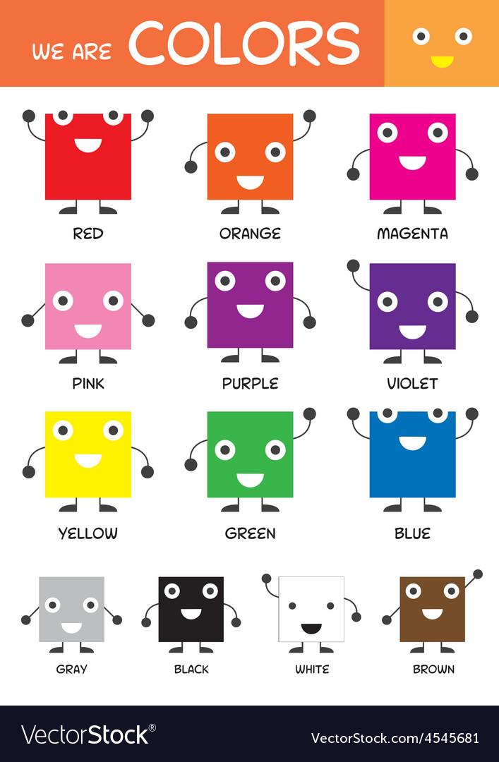 Kids Basic Colors Chart Royalty Free Vector Image - kids chart