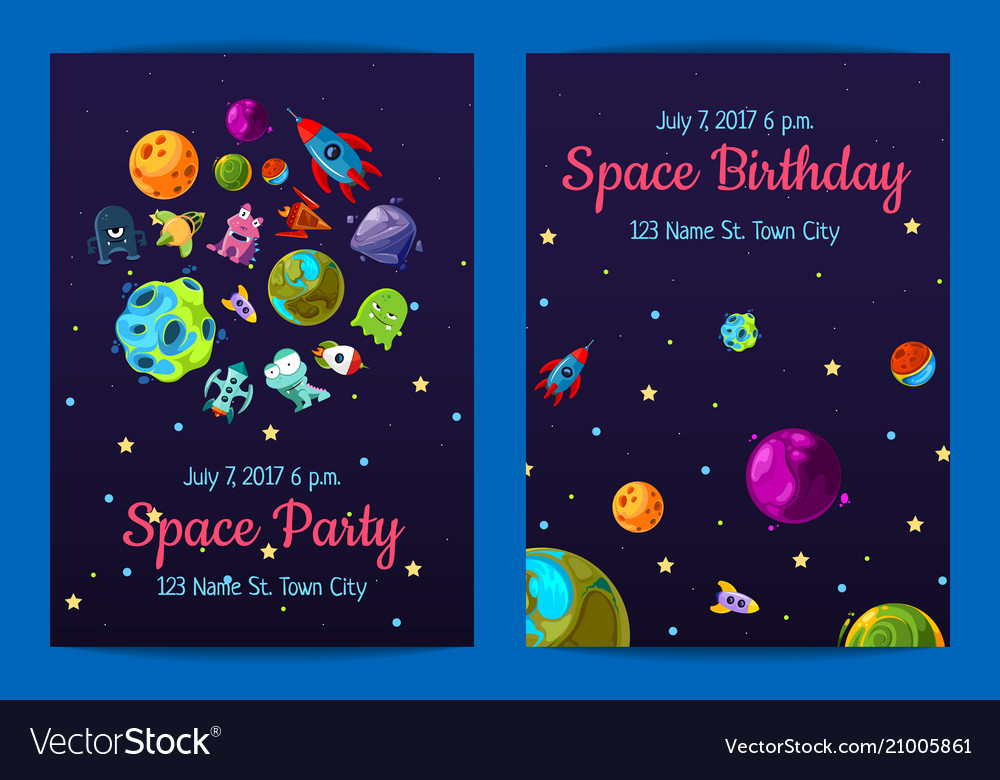 Space birthday party invitation templates Vector Image