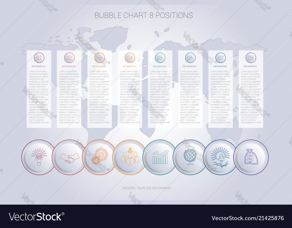 Infographics color bubble chart template for 8 Vector Image