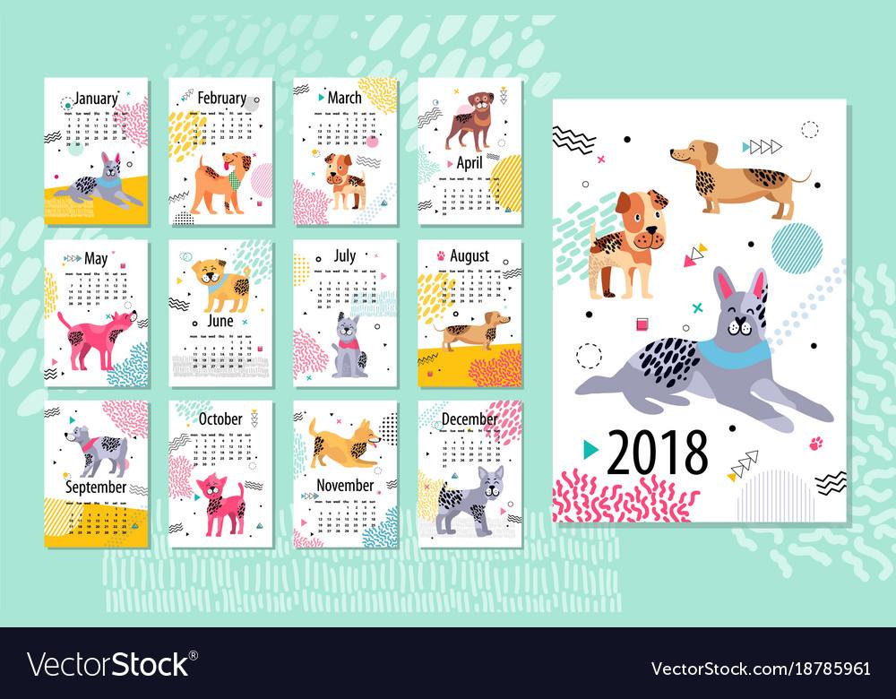 Calendar sample 2018 animal Royalty Free Vector Image - calendar sample design
