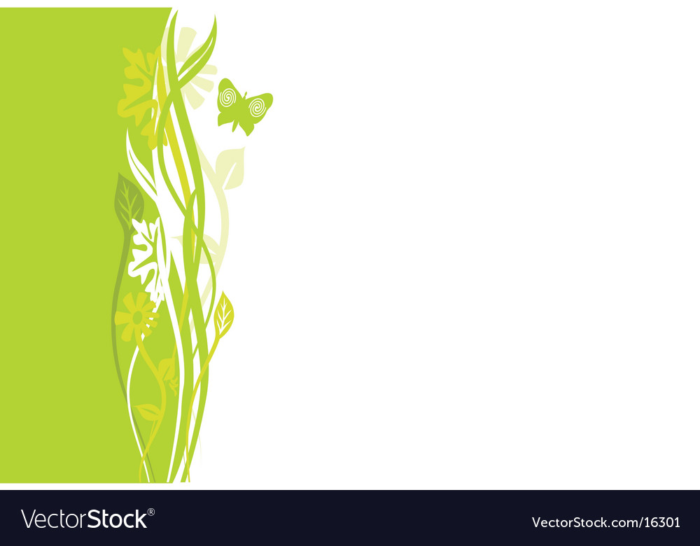 Swirly green floral border Royalty Free Vector Image