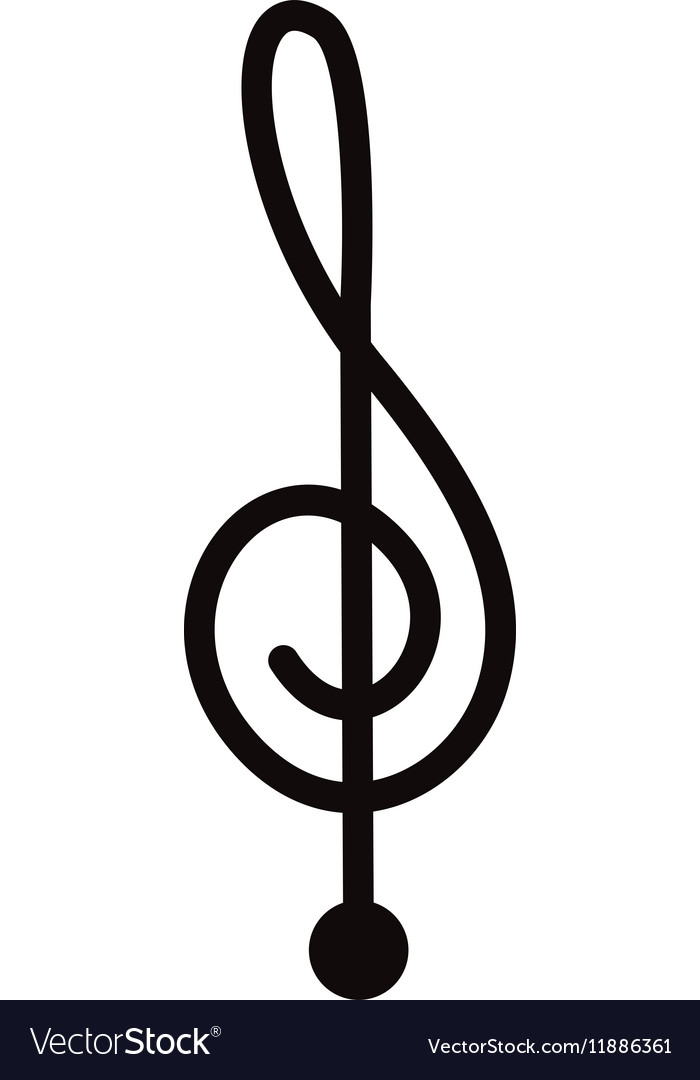 Silhouette monochrome with sign music treble clef Vector Image - clef music