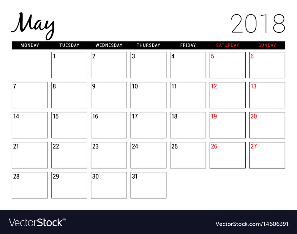 May 2018 printable calendar planner design Vector Image