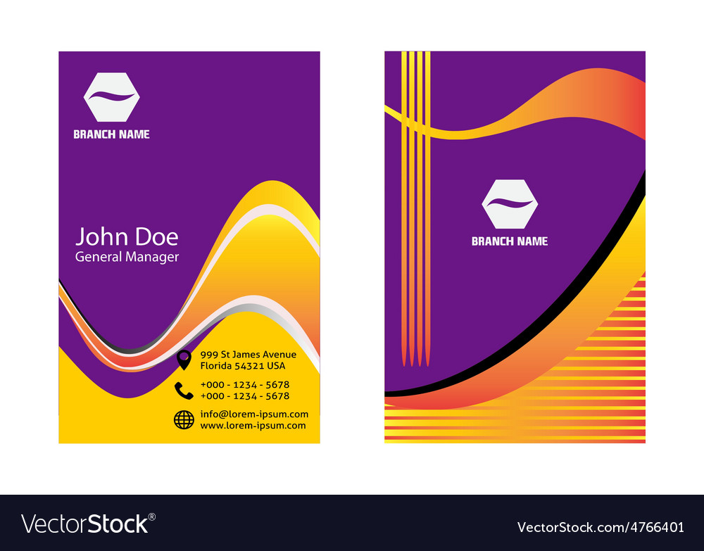 Purple and orange business card Royalty Free Vector Image
