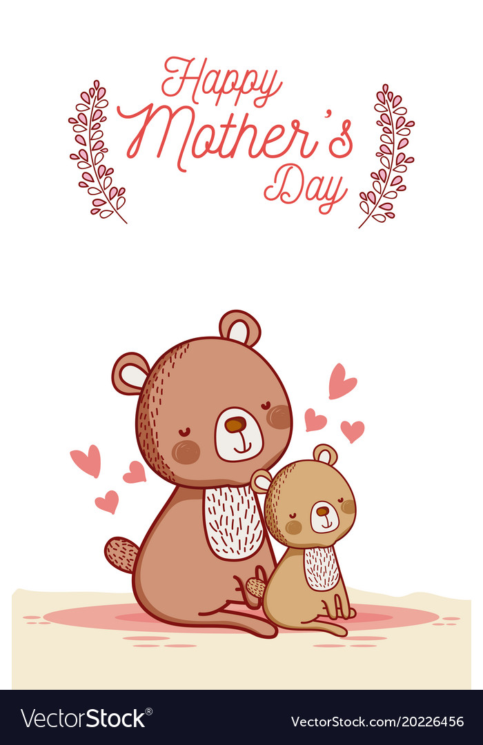Happy mothers day card with cute animals cartoons Vector Image - mother s day cards