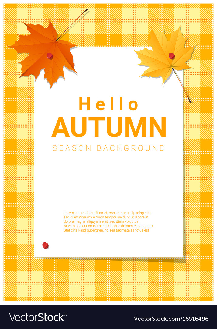 Blank poster on autumn theme background Royalty Free Vector
