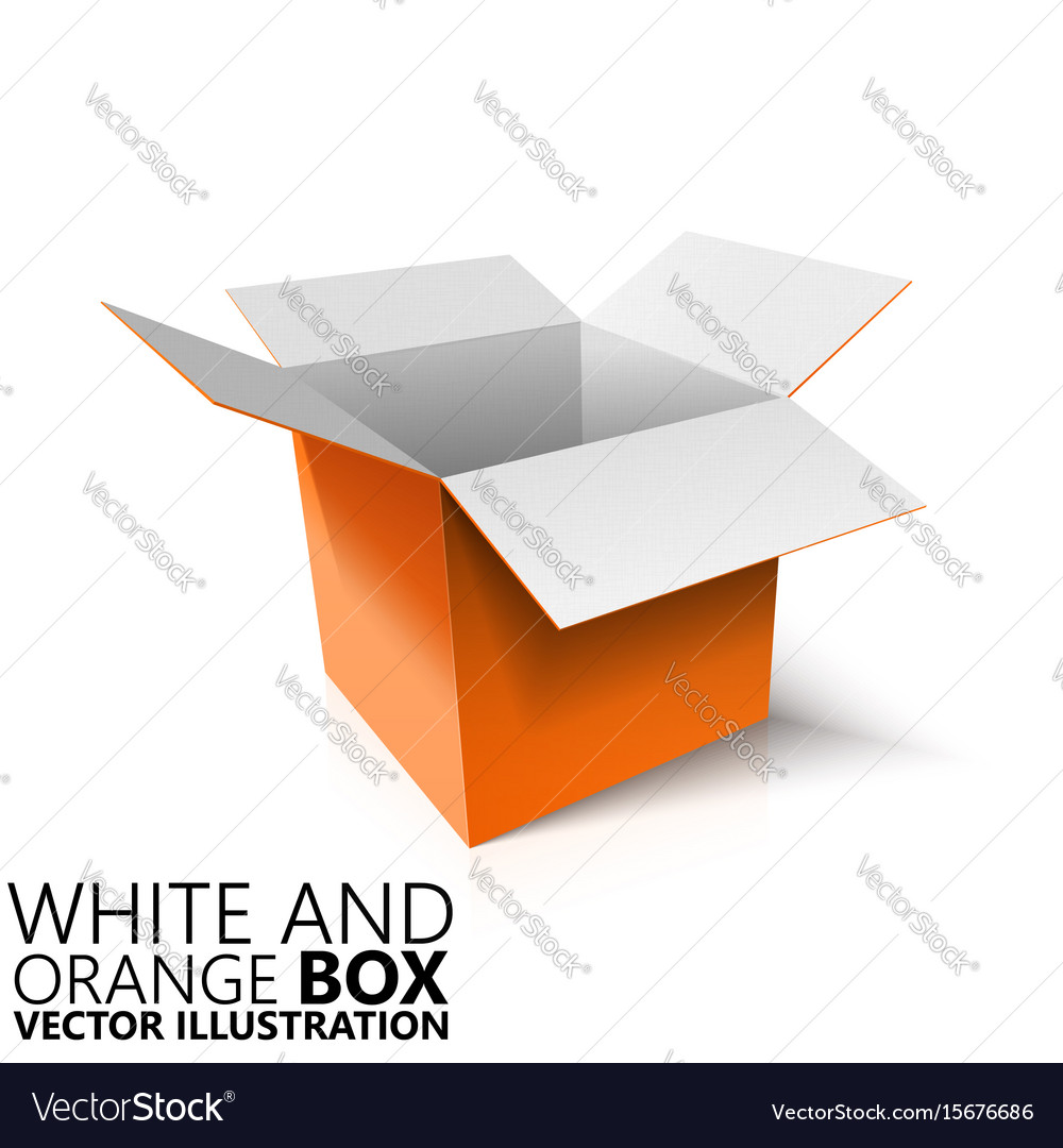3d Open White And Orange Open Box 3d